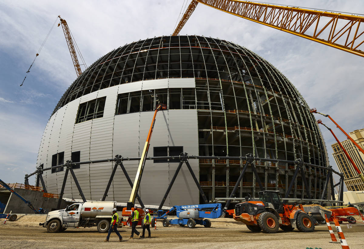 Construction continues during a tour of the Madison Square Garden Sphere at The Venetian in Las ...