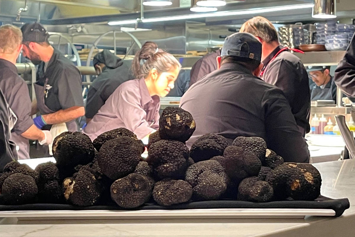 An open plate of truffles seen at Wally's Wine & Spirits at at Resorts World's opening on Thurs ...