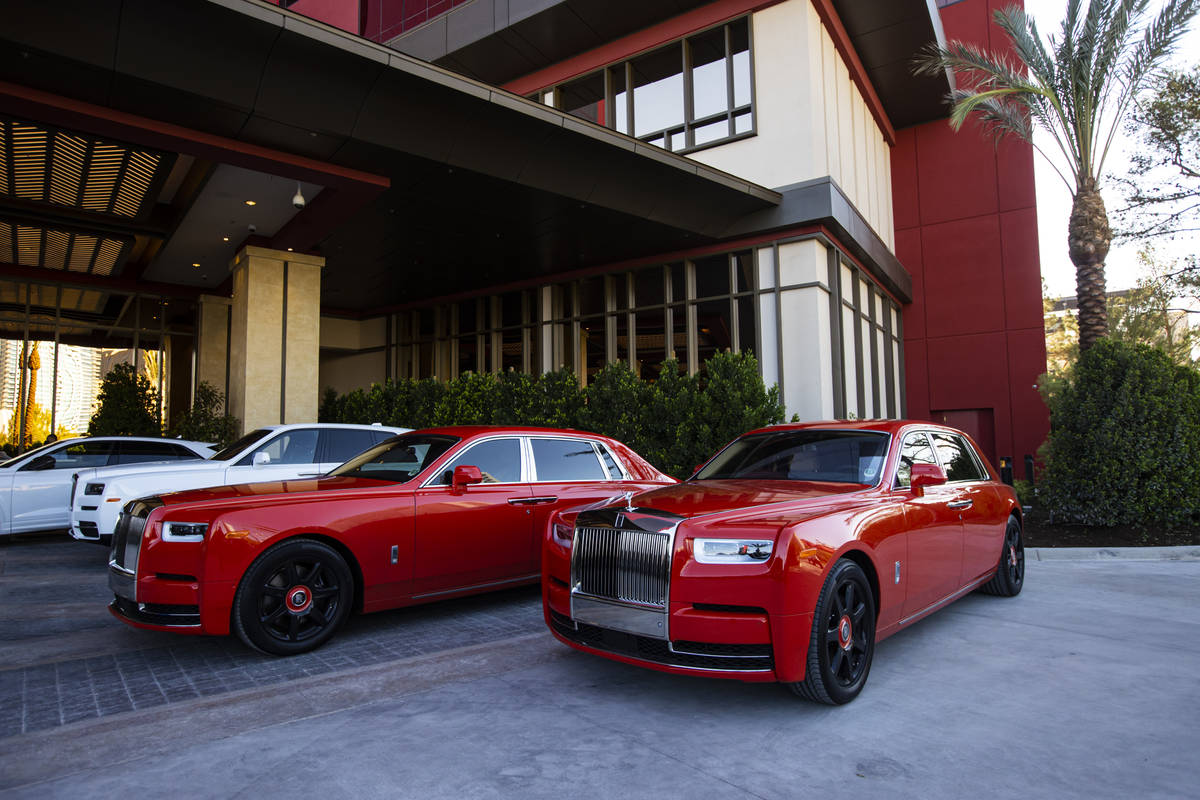 A pair of Rolls-Royce Phantoms are seen at the Crockfords porte-cochere on the opening night of ...