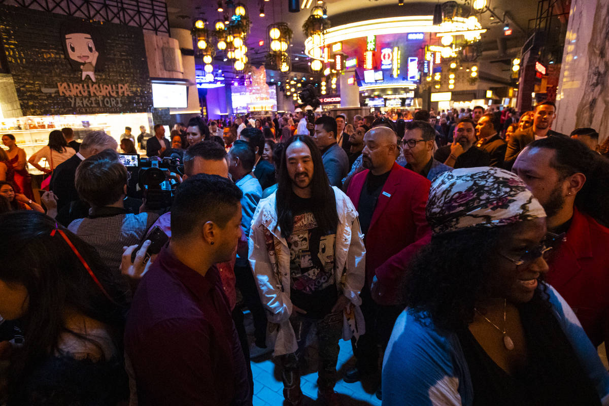Steve Aoki checks out the scene during the opening night of Resorts World Las Vegas on Thursday ...